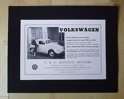 Volkswagen Motors Ltd Vw Beetle Original Vintage Advert September 1955