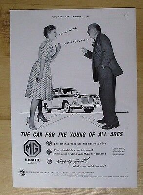 M.g.  Motors Ltd Of Cowley, Oxford Magnette Mark Iii Original 1961 Advert