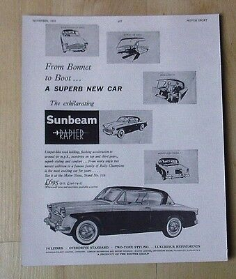 Sunbeam Talbot Ltd, Sunbeam Rapier Original Vintage Advert November 1955