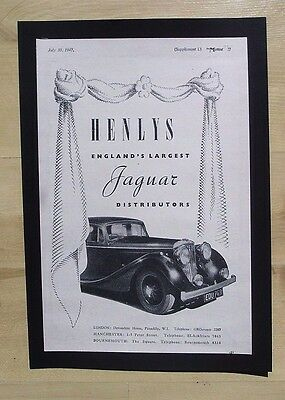 Jaguar Cars Distrubutor Original Vintage Advert From  Motor Magazine 1947