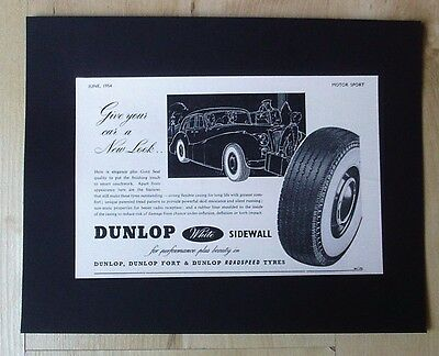 Fort Dunlop Dunlop White Sidewall Tyres Original Vintage Advert June 1954
