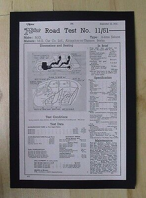 M.g. Car Co Ltd Road Test Original Vintage Advert From  Motor Magazine 1951