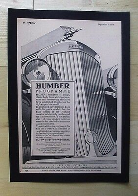 Humber Cars Coventry Original Vintage Advert From The Motor Magazine 1934