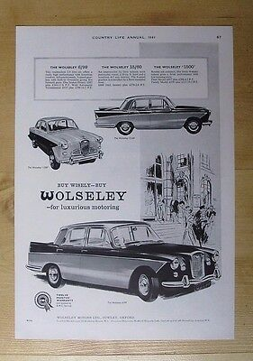 Wolseley Motors Ltd Of Cowley, Oxford Original 1961 Advert From Country Life Mag