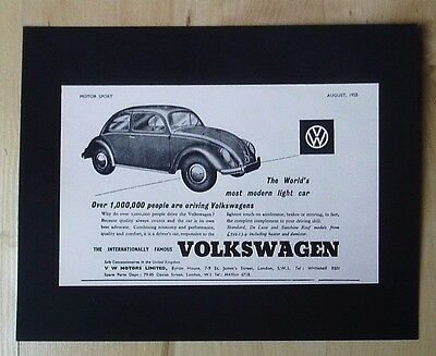 Volkswagen Vw Motors Ltd Volkswagen Beetle Original Vintage Advert August 1955