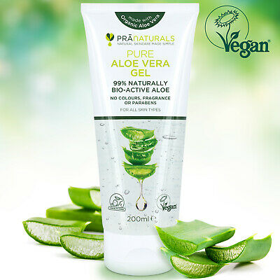 PraNaturals 99% Pure Organic Aloe Vera Vegan Soothing Gel Skin Moisturiser 200ml