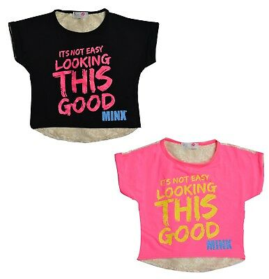 """50% OFF SALE New Kids Girls """"It's Not Easy To Look"""" Lace Back Crop Top T-Shirt"""