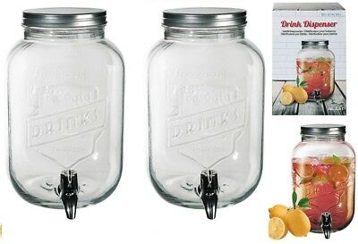 2 x Glass Drink Jars Dispenser For Flavored Water Juice Party With Tap 3.5 Ltr