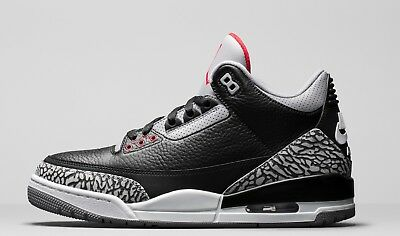 "Men Air Jordan 3 Retro ""Black Cement"" Black/Fire Red 854262-001"