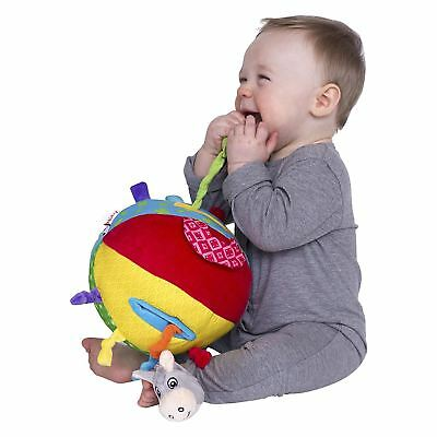 Nuby Squeak Rattle N Roll Plush Interactive Baby Toy Textures Colours Sounds 3m+
