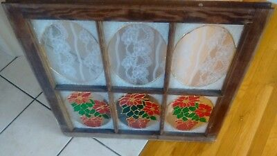 Vintage  Window Frame  Modern Stained Glass And Lace Poinsettia