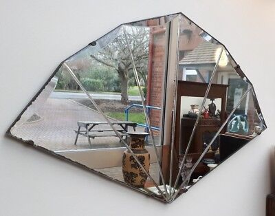 Art Deco 1920/30's Fan Shaped Sectioned Mirror Great Patina