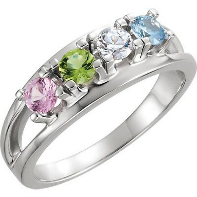 Made to Order 14K White Gold Mother's Ring Crystal Birthstones  1 - 7 Stones