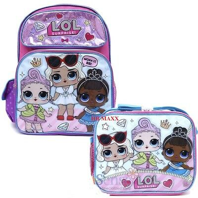 "L.O.L SURPRISE Large 16"" inches Backpack & Lunch Box - New Licensed Product"