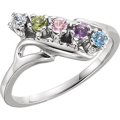 Made to Order 14K White Gold Mother's Ring Crystal Birthstones  1-5 Stones