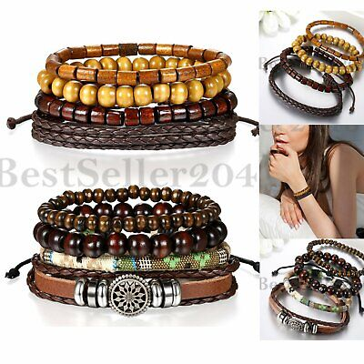 8pcs Set Braided Leather Tribal Beaded Cuff Bracelet Wristband For Women Men