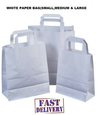 Kraft Paper SOS Carrier Bags White with Flat Handles/Takeaway/Gift BAGS