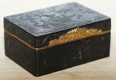 Very Rare Superb 18Th Century French Pressed Tortoise Shell And Gilt Box