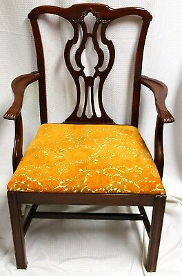 Antique 1940s Chippendale Mahogany Upholstered Arm Chair From J.B. Van  Sciver