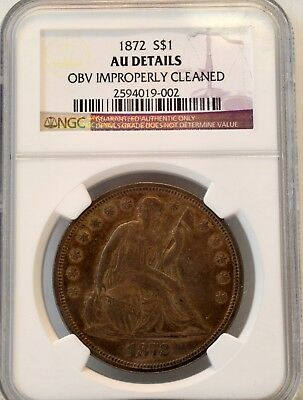 1872 S$1 Liberty Seated Dollar - NGC AU Details