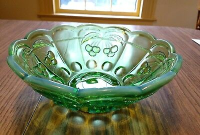 "Mosser green opalescent bowl 9-1/2"" d. cherry/cable pattern"