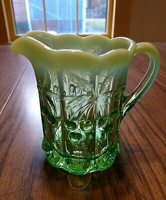 "Mosser green opalescent 3.25""x4"" creamer cherry/cable pattern"