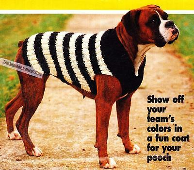 FOOTY DOG COAT large size  / CHUNKY or 12ply - COPY dog coat knitting pattern