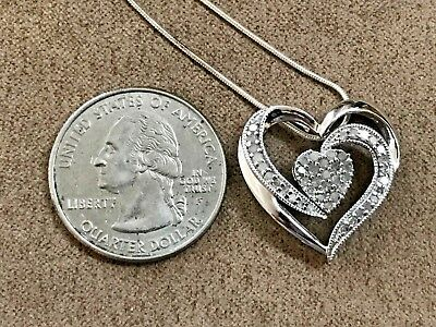 Two Hearts Forever One Sterling Silver 925 1/4-ct. T.W. Diamond Heart Pendant
