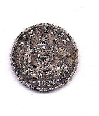 1925  Australia Silver  Six Pence --Very Strong Details !!