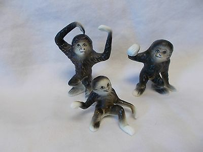 Bone China Miniature Animal Family - Gorilla Family - Japan