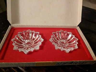 Cristal D'Arques 24% Lead Crystal Cheverny Candle Holders J. G. Durand orig. box