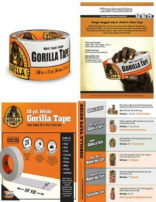 """UV Resistant Gorilla Tape, White Duct Tape, 1.88"""" x 10 yd, White, (Pack of 1)"""