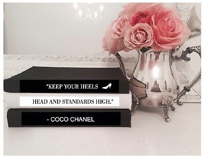 Coco Chanel Quote 'keep Your Heels Head & Standards High' Coffee Table Book Set