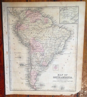 """Tinted Antique 1881 """"Map of South America"""",Warren's Common-School Geography"""
