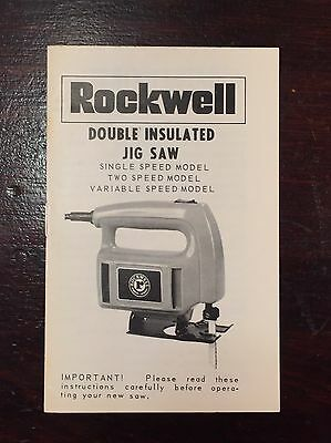 Vintage Rockwell Double Insulated Bayonet Jig Saw Operators Manual Instructions