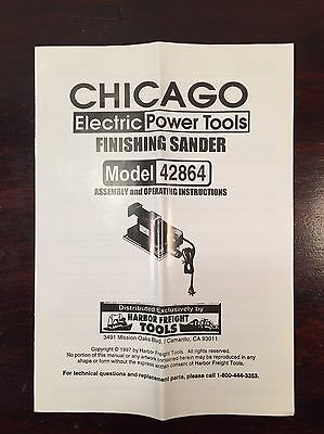 Chicago Electric Power Tools Finishing Sander 42864 Operator Manual Instructions