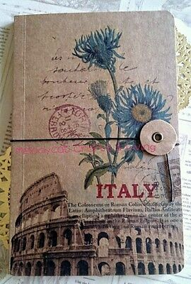 "Vintage Style Diary Travel Journal Notebook w String and Button Fastener ""Italy"""