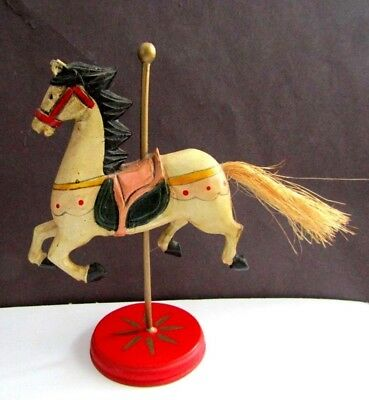 Wood Carved  Carousel Horse with straw tail China