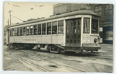 RPPC Connecticut Co Trolley NEW HAVEN CT Vintage Real Photo Postcard 1