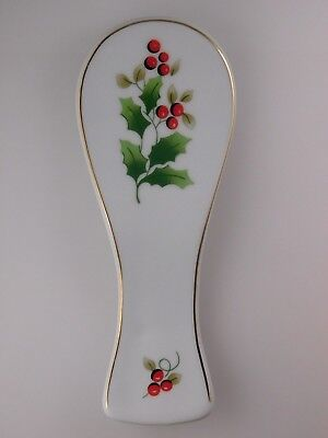 Royal Norfolk Christmas Holly Berry Spoon Rest with Gold Tone Trim