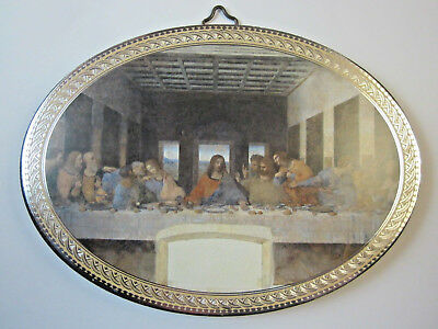"""The Last Supper Icon Picture on Wood Oval 5 3/4"""" Made in Italy"""