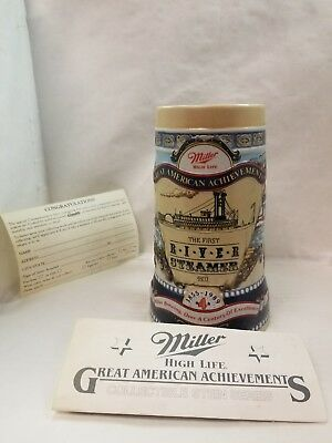 Miller Light Great American Achievements First River Steamer Beer Stein Mug 4th
