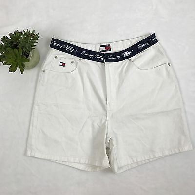 TOMMY HILFIGER Womens size 14 High Waist White Jean Shorts Spell Out Denim