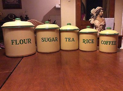 Vintage Enamel Canister Set From The 1930s.