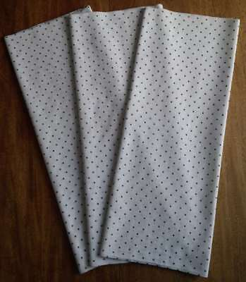 """6+ yards 1800s polka dot cotton, 3 pieces 24 """" wide, black dots on white - NR"""