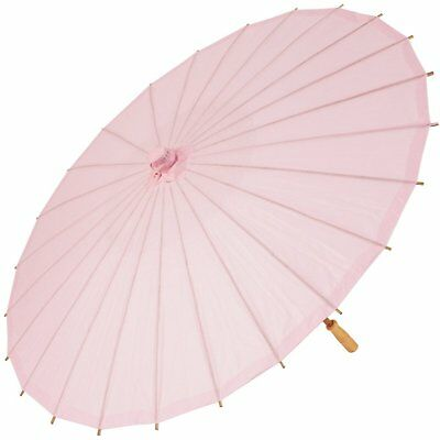 Chinese Paper and Bamboo Wedding Sun Parasol Pale Pink