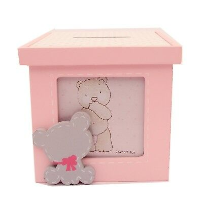 Girl Teddy Money Box Bank  with Photo Baby Shower Gift Idea Christening
