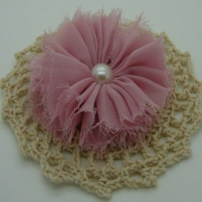 Dusty Pink Chiffon Flower with Pearl Centre x 1 RNB