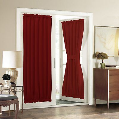 Aquazolax Solid Blackout Curtains Window Treatment For French Door