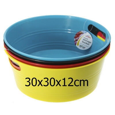 New 4xPlastic Round Bucket w Handle Colourful Bucket Home Storage Party Tub